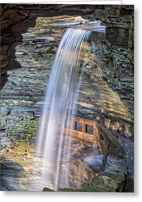 Finger Lakes Trail.rainbow Falls Greeting Cards - Cavern Falls At Sunrise Greeting Card by Jim Vallee