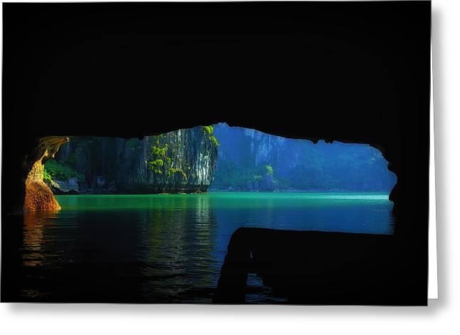 Cavern Greeting Cards - Cavern View of Halong Bay Vietman Greeting Card by Mountain Dreams