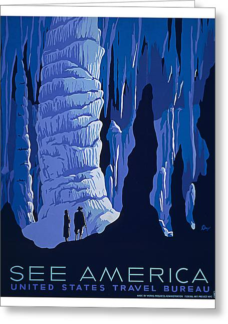 Cavern Paintings Greeting Cards - Caverns and Caves American Travel Greeting Card by Elaine Plesser