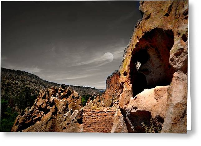 New At Digital Greeting Cards - Caves Moon Greeting Card by Diana Angstadt