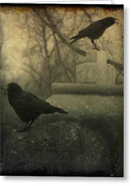 Two Crows Greeting Cards - Cawing At The Gravyard Greeting Card by Gothicolors Donna Snyder