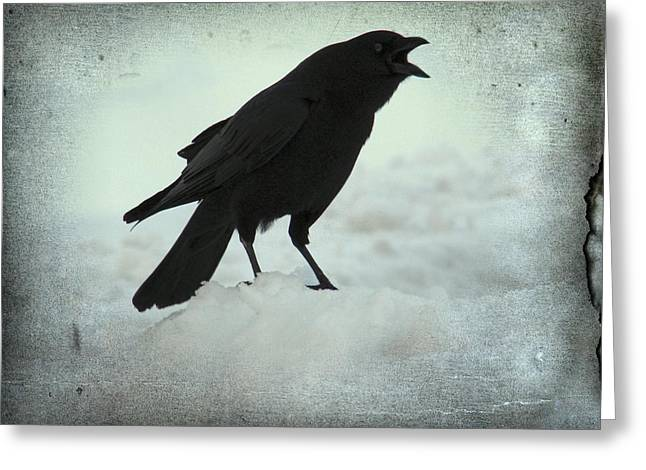 Corvus Corax Greeting Cards - Cawing Winter Crow Greeting Card by Gothicolors Donna Snyder
