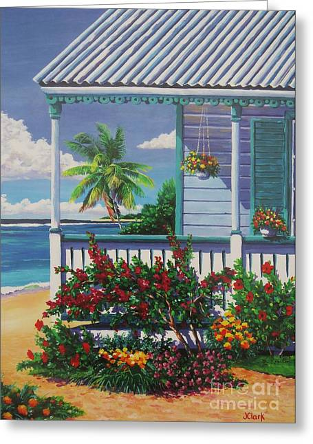 Cayman Porch Greeting Card by John Clark