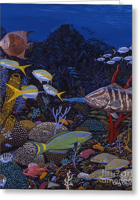 Grunts Paintings Greeting Cards - Cayman Reef Re0022 Greeting Card by Carey Chen