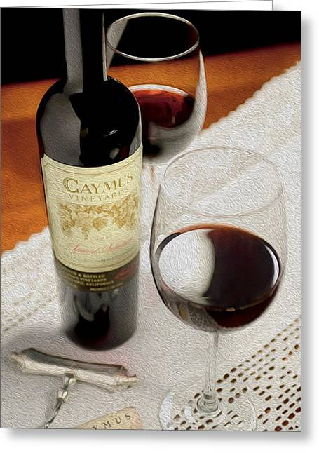 Red Wine Bottle Mixed Media Greeting Cards - Caymus on Linen Painting Greeting Card by Jon Neidert