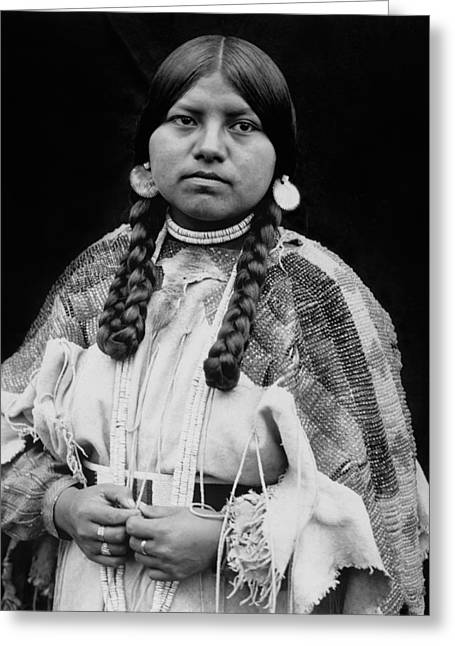 Braids Greeting Cards - Cayuse woman circa 1910 Greeting Card by Aged Pixel