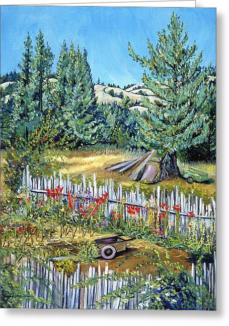 Barrows Framed Prints Greeting Cards - Cazadero Farm and Flowers Greeting Card by Asha Carolyn Young