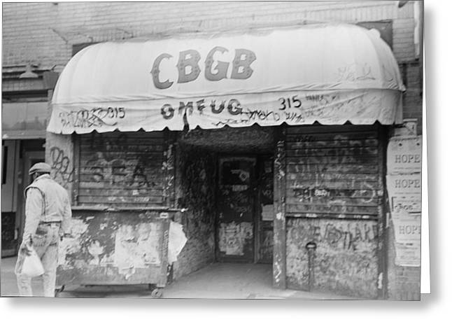 Ramones Greeting Cards - CBGB OMFUG on the Bowery New York City 1989 Greeting Card by Anthony Troncale
