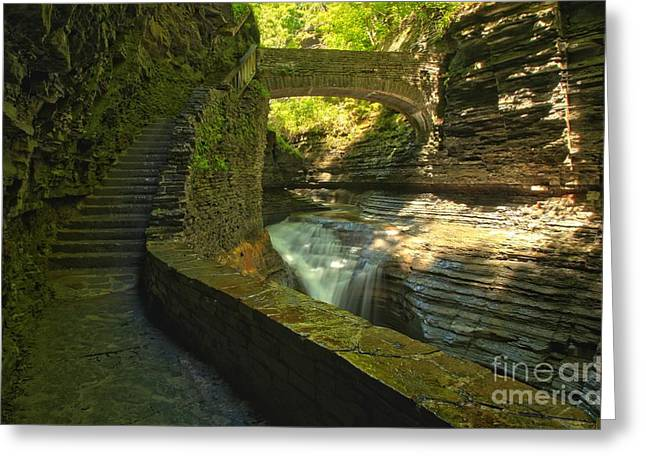 Watkins Glen New York Greeting Cards - CCC Path To The Falls Greeting Card by Adam Jewell