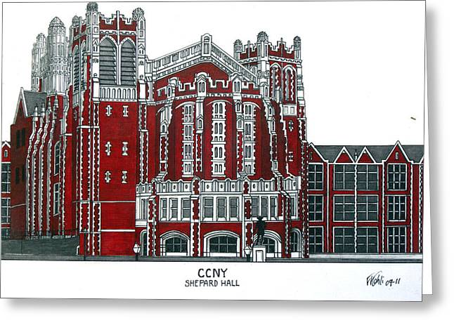 Pen And Ink Framed Prints Greeting Cards - CCNY Shepard Hall Greeting Card by Frederic Kohli