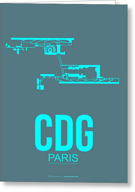 Town Mixed Media Greeting Cards - CDG Paris Airport Poster 1 Greeting Card by Naxart Studio