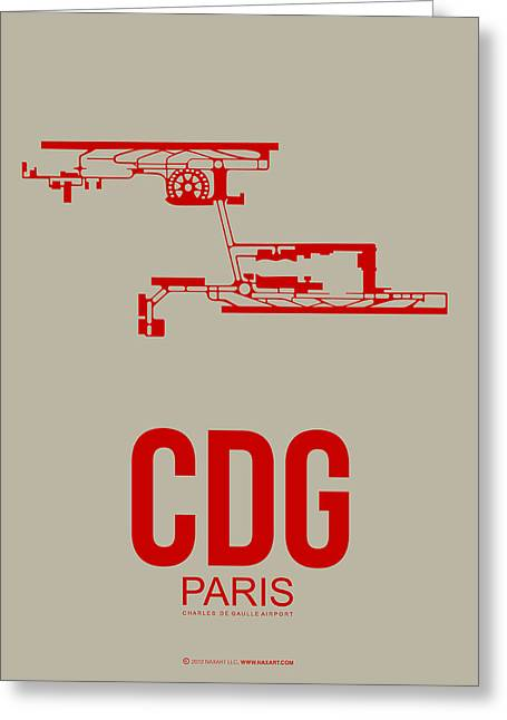 European City Greeting Cards - CDG Paris Airport Poster 2 Greeting Card by Naxart Studio