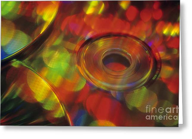 Music Cds Greeting Cards - CDs reflecting multi colors Greeting Card by Jim Corwin