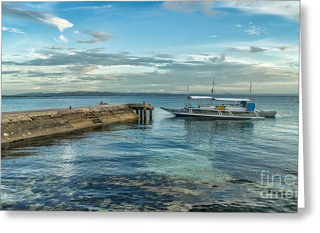 Pier Digital Greeting Cards - Cebu Tour Boat Greeting Card by Adrian Evans