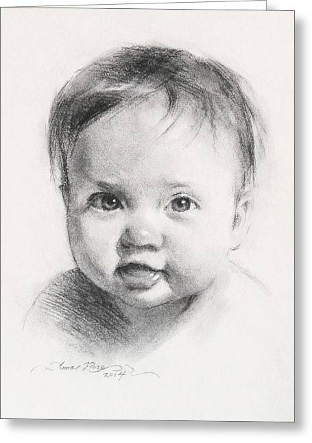 Charcoal Portrait Greeting Cards - Cece at 6 Months Old Greeting Card by Anna Rose Bain