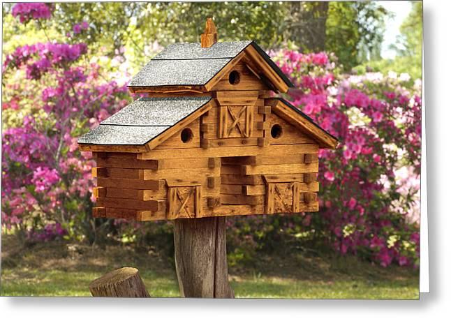 Birdhouse Greeting Cards - Cedar Birdhouse Greeting Card by Mike McGlothlen