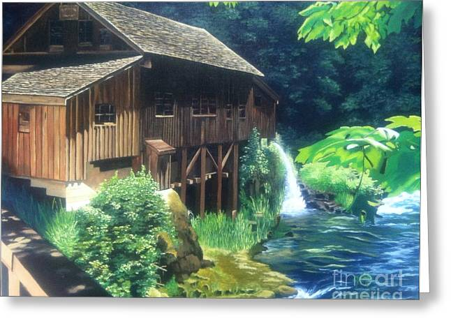 Grist Mill Paintings Greeting Cards - Cedar Creek Grist Mill Greeting Card by Cireena Katto