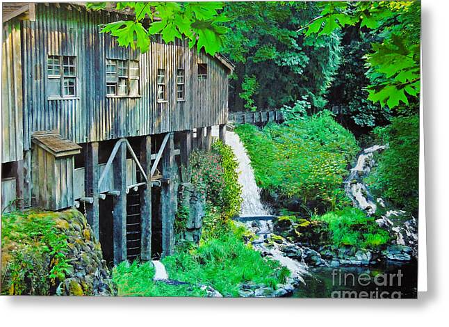 Grist Mill Mixed Media Greeting Cards - Cedar Creek Grist Mill Greeting Card by L J Oakes