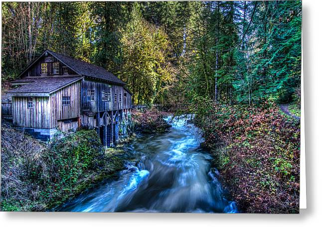 Cedar Creek Greeting Cards - Cedar Creek Grist Mill Greeting Card by Puget  Exposure