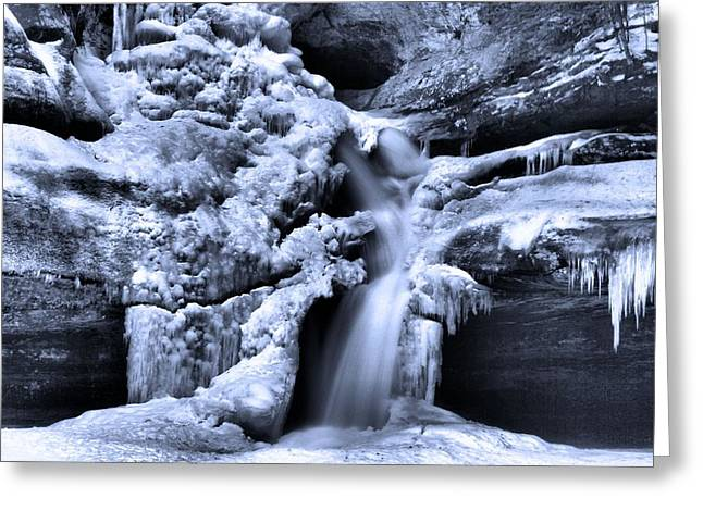 Water In Cave Greeting Cards - Cedar Falls In Winter Greeting Card by Dan Sproul