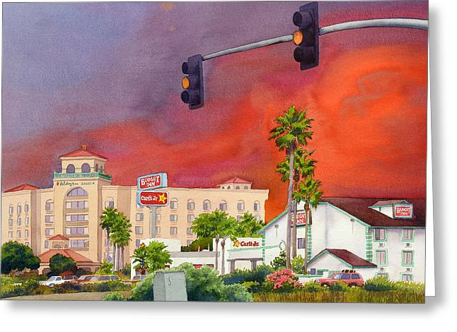Cedar Tree Greeting Cards - Cedar Fire San Diego 2003 Greeting Card by Mary Helmreich