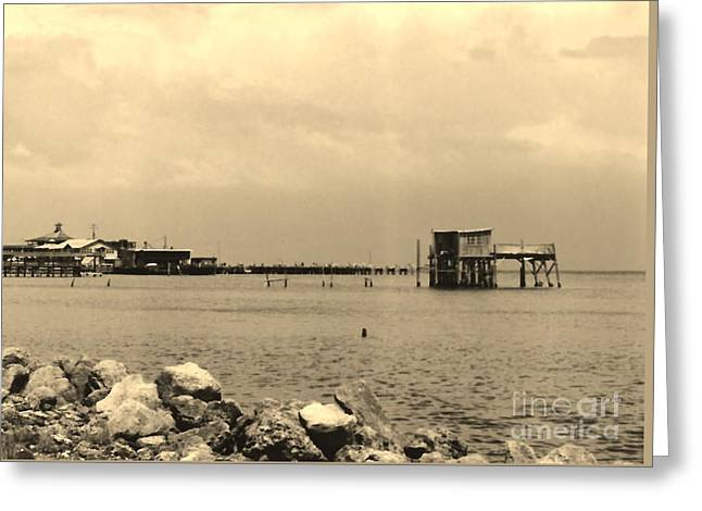Cedar Key Photographs Greeting Cards - Cedar Key - Sepia Greeting Card by D Hackett