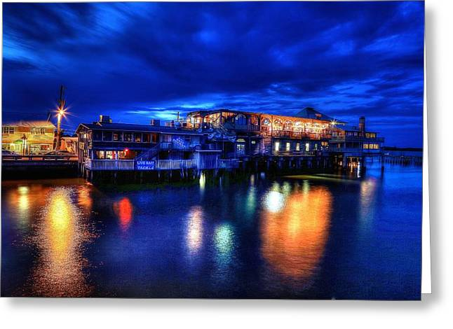 Best Sellers -  - Cedar Key Greeting Cards - Cedar Key at night Greeting Card by Wioletta Pietrzak