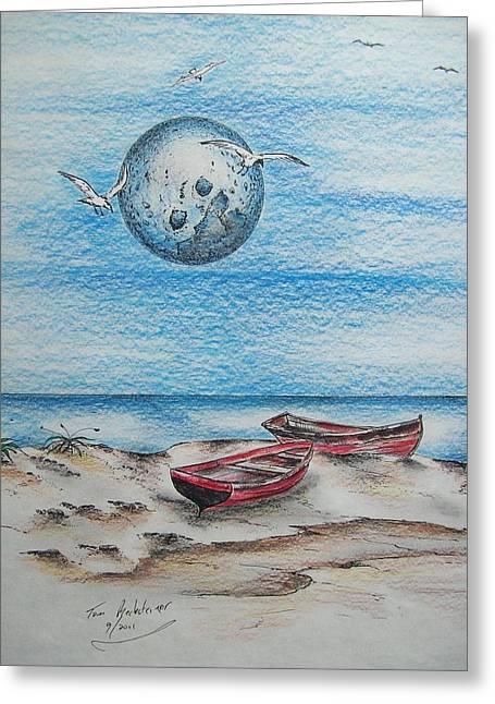 Cedar Key Drawings Greeting Cards - Cedar Key Boats Greeting Card by Tom Rechsteiner