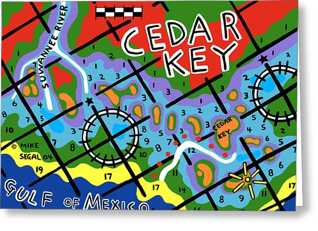 Cedar Key Greeting Cards - Cedar Key Chart Greeting Card by Mike Segal