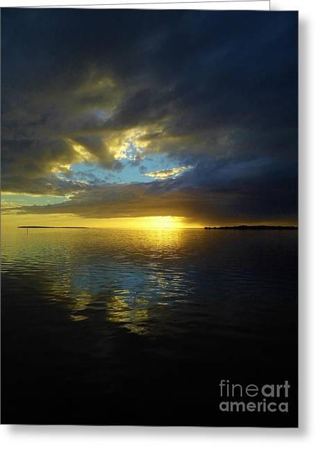 Cedar Key Greeting Cards - Cedar Key Sunset Greeting Card by D Hackett