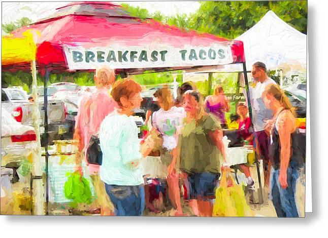 Impressionistic Market Greeting Cards - Cedar Park Texas Farmers Market Breakfast Tent Greeting Card by JG Thompson
