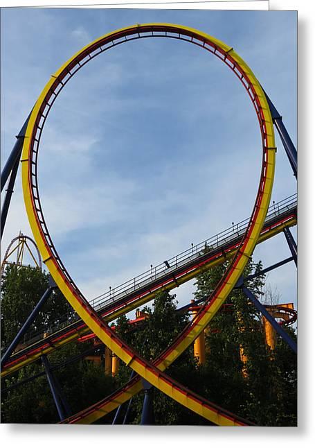 Loop De Loop Greeting Cards - Cedar Point - Mantis Loop Greeting Card by Shawna  Rowe