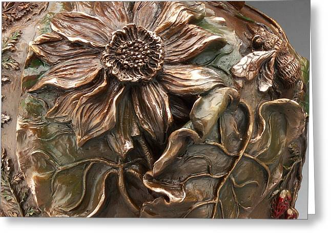 Rocky Mountain Reliefs Greeting Cards - Cedar Ridge Bronze Wildflower Vase - detail Greeting Card by Dawn Senior-Trask