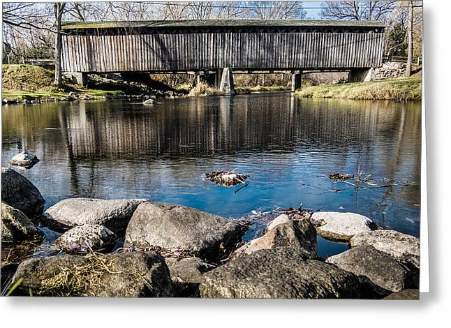 Cedar Creek Greeting Cards - Cedarburg Covered Bridge Greeting Card by Randy Scherkenbach
