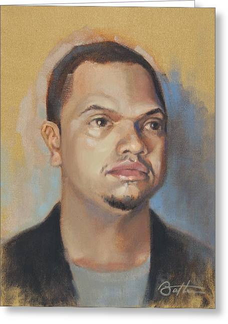 African-american Paintings Greeting Cards - Cedrick Greeting Card by Todd Baxter