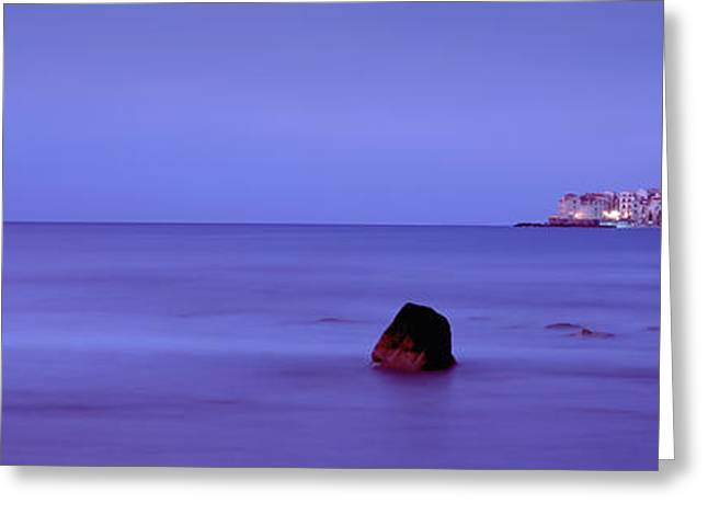 Eerie Greeting Cards - Cefalu At Dusk, Sicily, Italy Greeting Card by Panoramic Images