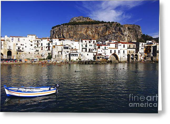 Port Town Greeting Cards - Cefalu - Sicily Greeting Card by Stefano Senise
