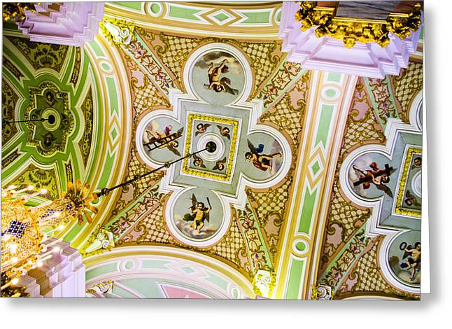 Ceiling - Cathedral Of Saints Peter And Paul Greeting Card by Jon Berghoff