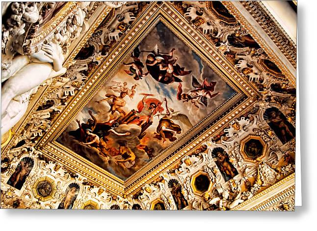 Fontainebleau Greeting Cards - Ceiling - Chateaus Fontinebleau - France Greeting Card by Jon Berghoff