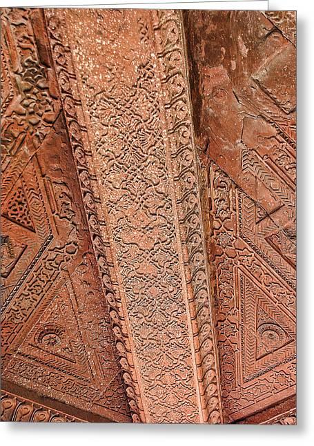 Handwork Greeting Cards - Ceiling Detail in Fatepur Sikri Palace Greeting Card by Linda Phelps