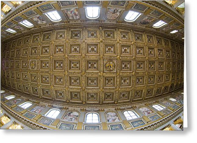 Italian Culture Greeting Cards - Ceiling Details Of A Church, St. Peters Greeting Card by Panoramic Images