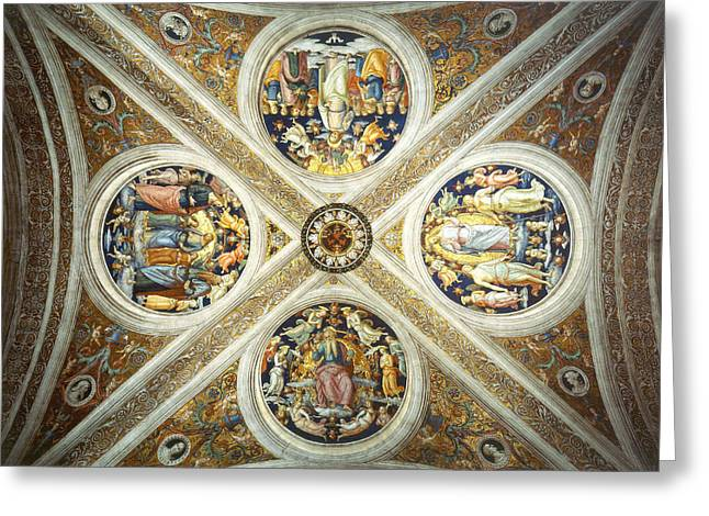 Stanza Greeting Cards - Ceiling of the Stanza dell Incendio del Borgo. Greeting Card by Raphael