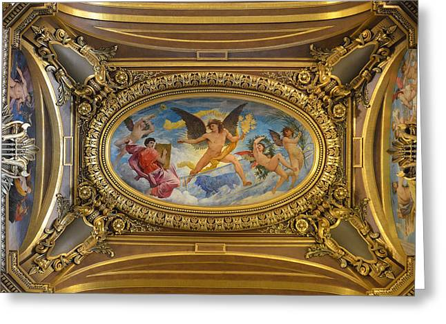 Home Theatre Greeting Cards - Ceiling painting by Paul Baudry in the Grand Foyer of the Paris Opera House Greeting Card by RicardMN Photography