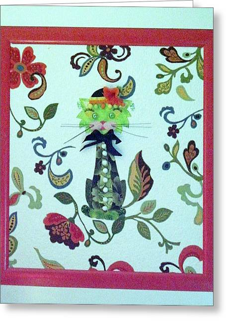 Fabric Quilt Tapestries - Textiles Greeting Cards - Cel kat Greeting Card by Frederic Kohli