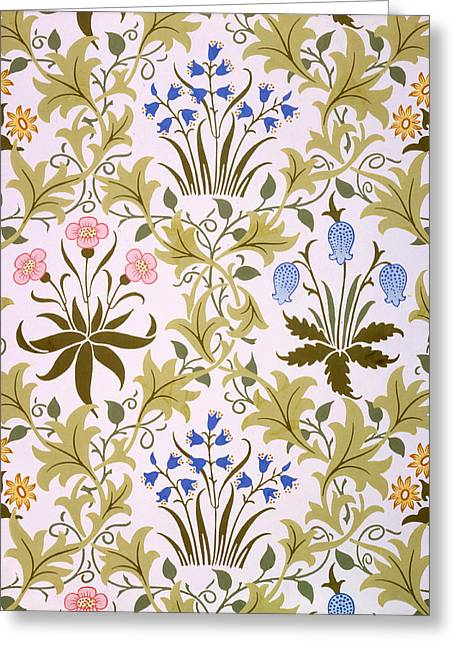 Textile Art Greeting Cards - Celandine Wallpaper Design Greeting Card by John Henry Dearle