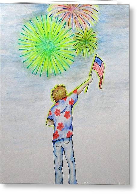 Rockets Red Glare Greeting Cards - Celebrate America Greeting Card by Catherine Howley