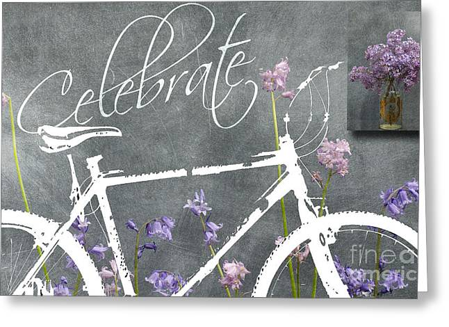 Love Letter Greeting Cards - Celebrate - Blackboard Inspirational Bicycle Art Greeting Card by ArtyZen Home