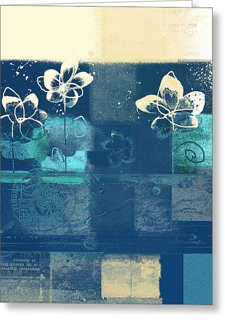 Blue Flowers Digital Art Greeting Cards - Celebrate - blue3tx2 Greeting Card by Variance Collections