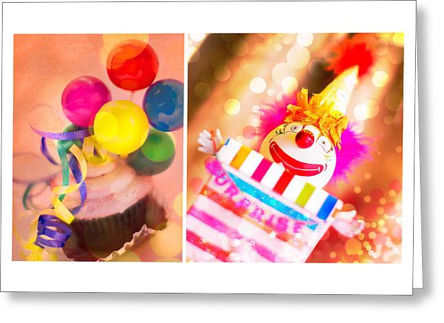 Scary Clown Greeting Cards - Celebrate Greeting Card by Rebecca Cozart
