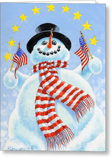 Snowman. Greeting Cards - Celebrate Greeting Card by Richard De Wolfe